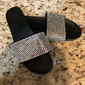 New York & Co Sliver Embellished Slides